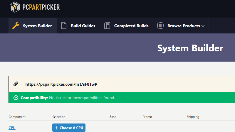 pcpartpicker.com раздел System Builder