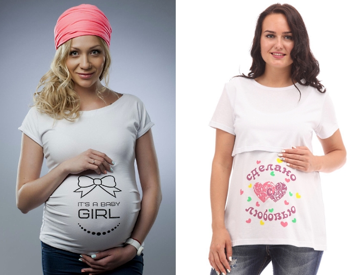 Специальная футболка для беременных девушек - идея подарка