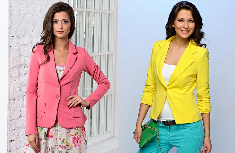 Желтый и розовый цвет пиджаков