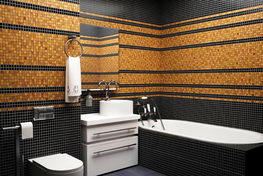 Мозаики в интерьере ванной комнаты в чёрных тонах