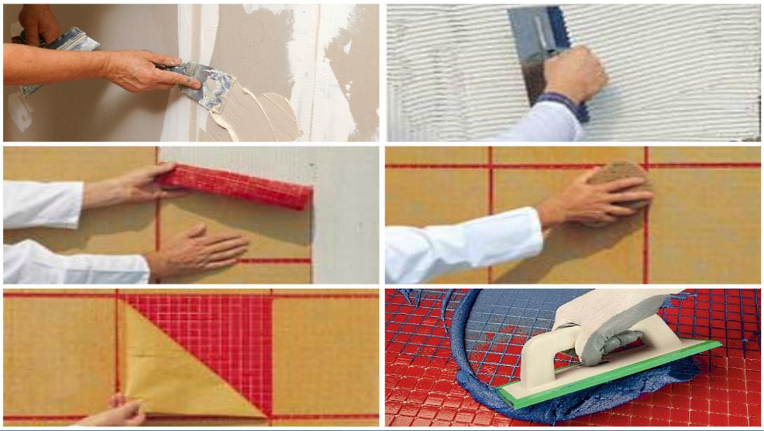 Технология укладки плитки мозаики на стены