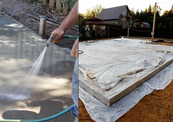 Поливка и укрывание бетона после заливки для бани
