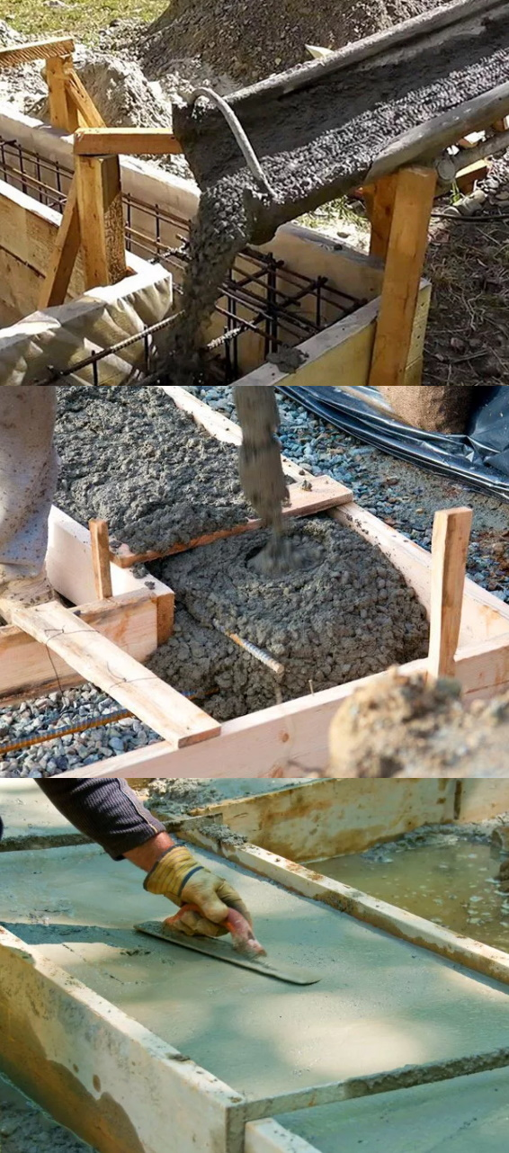 Процесс заливки бетоном опалубки под фундамент бани, своими руками